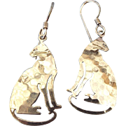 Wild Bryde Hammered Silver CAT Earrings, Classic Vintage!
