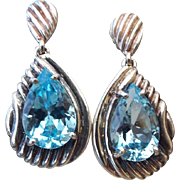 Fancy Sterling and Blue Topaz Drop Pierced Earrings, Artist Crafted 1970s!