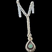 Sterling Enamel Modernist Lavaliere Necklace, Unique Artist Crafted Treasure!