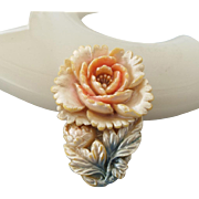Hand Tinted Celluloid Japanese Floral Dress Clip, Three Dimensional Early Plastic!