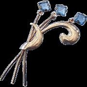 1930s Sterling Silver Art Deco Design Rhinestone Fancy Brooch, Elegant Vintage!