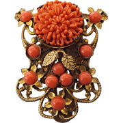 1940s Victorian Revival Faux Coral Dress Clip, Lovely Classic Design!