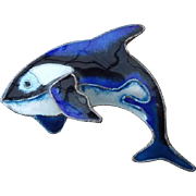 Enamel Finish Figural Whale Brooch, Beautiful craftsmanship and condition!