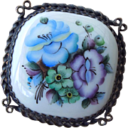 Vintage Rostov Russian Enamel Brooch, Beautiful Floral Design, Cottage Craftsman!
