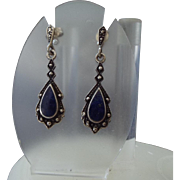 Sterling Silver, Lapis and Marcasite Gemstone Pierced Earrings 1960s!
