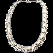 Longer Trifari Rhodium Plated Mid-Century Signed Necklace, Fabulous Vintage!