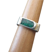 Modernist Artist Crafted Sterling Chrysocolla Ring, Unisex!