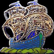 Sterling Enamel Spanish Galleon Ship Brooch Pin Early Century!