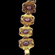 Antique Czech Filigree Wide Bracelet Amethyst Glass Stones Made In Czechoslovakia!