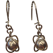 Atomic Age Sterling Earrings For Pierced Ears Caged Ball Earrings 1950s!