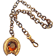 Antique Victorian Rolled Gold Fancy Watch Chain Topaz Glass Stone Good Luck Horseshoe!
