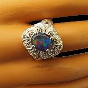Diamond Accented Australian Opal Gemstone Ring Ornate Sterling Setting!