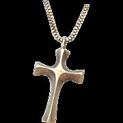 Sterling Silver Cross Pendant Necklace Unisex Artist Wax Cast 1970s!