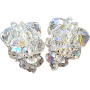 1950s Faceted Crystal Wired Clip Earrings, A Wardrobe Staple!