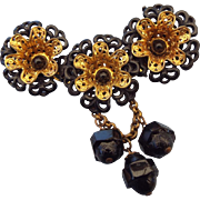 Victorian Revival Brooch Black Japanned with European Glass Drops 1930s!