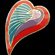 Laurel Burch Dove Heart Brooch Pin Enamel Face Designer Signed Vintage Jewelry!