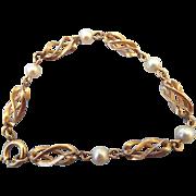 1950s Cultured Saltwater Pearl Bracelet Golden Swirl Stations!