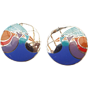 Laurel Burch Celestial Birds Pierced Earrings, Colorful Enamel Face 1980s!