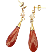 Asian Carnelian Drop Pierced Earrings, Chinese Character Happiness!