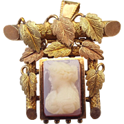 Antique Hardstone Cameo Pendant Brooch Yellow and Rose Gold Leaves Picture Frame 1800s!