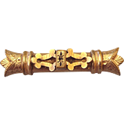 Victorian Taille d'Epergne fancy Bar Brooch Rose Gold Finish!