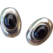 1940s Vintage Sterling Onyx Pierced Earrings Omega Findings!