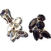1940s Designer Signed Weiss Black Rhinestone Earrings Rhodium Finish!