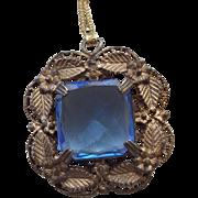 1920s Transition Era Pendant Early Art Deco Beautiful Sapphire Glass Pendant!
