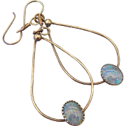 1970s Boho Opal Dangle Earrings Sterling Findings Classic Vintage!