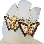 Signed Amita Japanese Damaascene Butterfly Earrings for Pierced Ears!