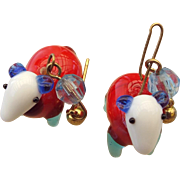 Handmade Art Glass Blown Glass Figural Earrings, Sheep!