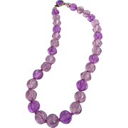 Lavender Lucite Faceted Bead Necklace 1960s!