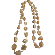 Mother Of Pearl Polished Nugget Knuckle Necklace, Buttercream Color!
