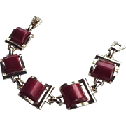 Deep Cherry Red Thermoset Plastic Bracelet 1950s Vintage!