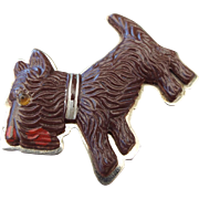 1930s Celluloid Scotty Dog Figural Pin, A Classic Vintage!