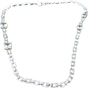 Art Deco 1930s Asymmetrical Necklace Square Stones, Fabulous Vintage!