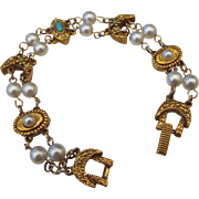Signed Goldette Victorian Revival Station Bracelet!