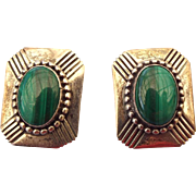 Navajo Crafted Sterling Silver Malachite Pierced Earrings 1960s!