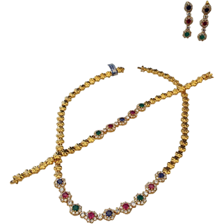 1980s Indian Jewelry Set Necklace, Bracelet and Pierced Earrings!
