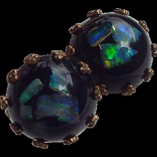 1940s Opal Embedded Lucite Earrings Wonderful Fire Opals From Australia!