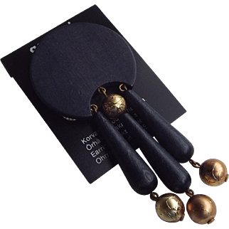 Aarikka Finland Modernist Artist Crafted Pin Very Cool Vintage!