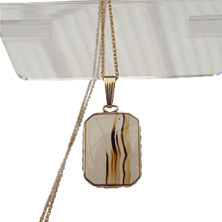Victorian Revival 1940s Gold Filled Banded Agate Cabochon Pendant Necklace!