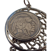 1937 Indian Head Nickel Southwestern Style Pendant!