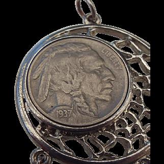1937 Indian Head Nickel Southwestern Style Pendant!