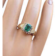 10k Natural Earth Mined Emerald Ring, 1960s Diamond Accented!