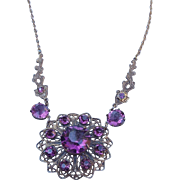 Victorian Revival Amethyst Crystal Rhinestone Necklace and Earring Set, 12k Gold Fill Chain!