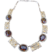 Topaz Station Necklace Early Century Filigree!