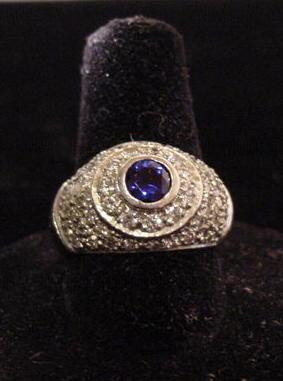 Platinum Art Deco Sapphire and Diamond Ring, c. 1925