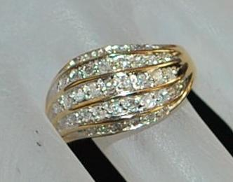 14K Diamond  Wave Ring - 1960's