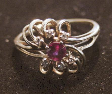 10K Ruby and Diamond  Ring - 1970's